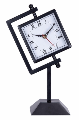 Black Table Clock on Stand
