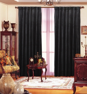 "Black Velvet Window Theater Curtain Drape 84""-120"" Length Brand Wild Orchid"