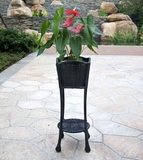 Black Wicker Patio Furniture Planter Stand with Steel Frame Brand Zest