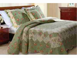 Bliss Sage Quilt Queen Set With 2 Shams, Handmade Queen Quilt Brand Greenland Home fashions