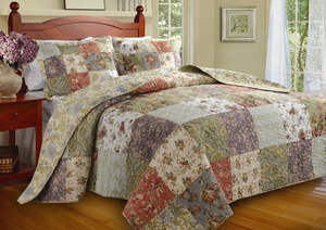 Blooming Prairie Quilt Queen 3Pcs Bedspread Set 110X118 Brand Greenland Home fashions