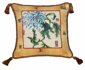 "Blossoming Grandly Chrysanthemum Needlepoint Pillow 16x16"" by 123 Creations"
