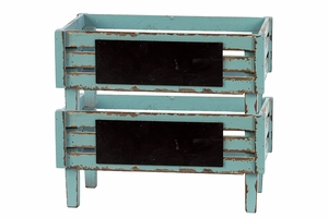 Blue Ethnic and Elegant Looking Wooden Storage Units by Urban Trends Collection