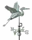 Blue Heron Garden Weathervane - Blue Verde Copper w/Roof Mount by Good Directions
