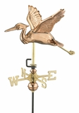 Blue Heron Garden Weathervane - Polished Copper w/Roof Mount by Good Directions