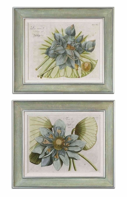 Blue Lotus Flower Wood Framed Wall Decor - Set of 2 Brand Uttermost
