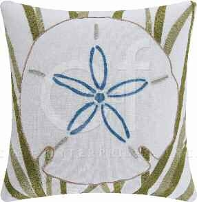Blue Oasis Chain Stitch Blue Pillow 18 x18 Inches Brand C&F