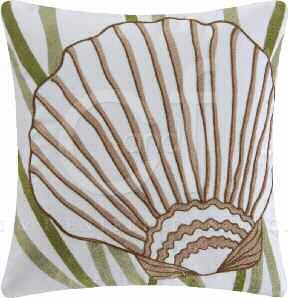 Blue Oasis Chain Stitch Sea Shell Pillow 18 x18 Inches Brand C&F