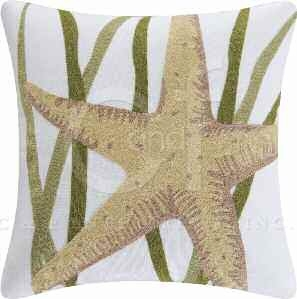 Blue Oasis Chain Stitch Starfish Pillow 18 x18 Inches Brand C&F