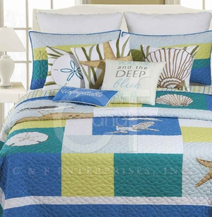 Blue Oasis Cotton Twin Quilt with Cotton Fill Brand C&F