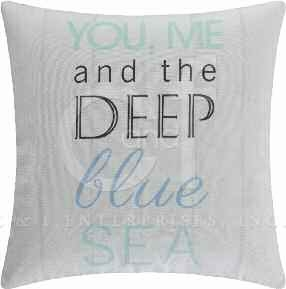 Blue Oasis Deep Pillow 18 x18 Inches Brand C&F