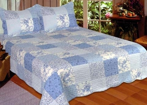Blue Patch Queen Sized Quilt with 100% Cotton Filling by American Hometex