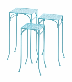 Blue Polished Beautiful Metal Plant Stand by Woodland Import