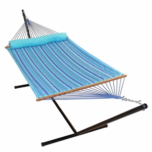 Blue Stripe 13' Quilted Reversible Hammock with Matching Pillow by Alogma