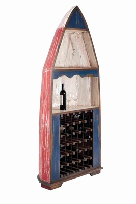 Boat Shaped Antique Wine Cabinet with Mahogany Construction Brand Woodland