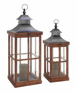 Bonn Candle Lantern Set Fascinating Plus Impressive Embellishment Brand Benzara