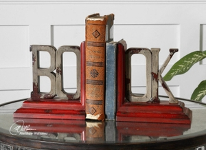 Book Bookends Set/2, Bookends in Burnt Red and Ash Gray Finis Brand Uttermost