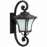 Borrego Collection 1 Light Exterior Light Wall Mount in Desert Night Frame with Frosted glass by Yosemite Home Decor