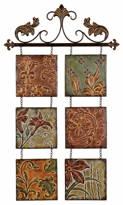 Botanical Scroll Metal Wall Decor Sculpture with Floral Design Brand Woodland
