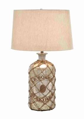 Tinted Glass Table Lamp With Netted Jute - 27961 by Benzara