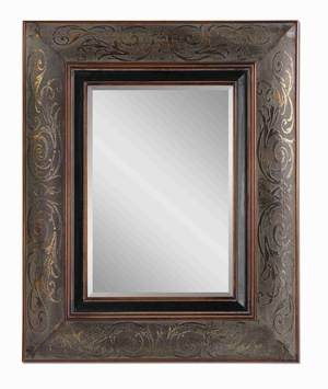 Bovara Wall Mirror with Rustic Bronze and Copper Undertones Brand Uttermost