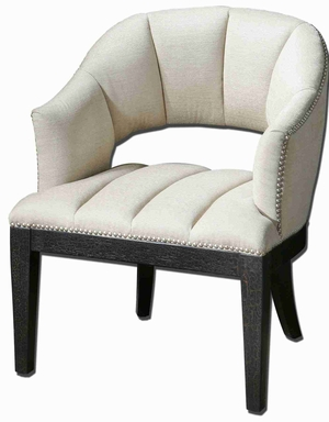 Bovary White Armchair In Tuffed Woven Vanilla Channels Brand Uttermost
