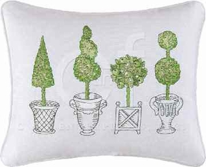 Boxwood Abbey Embroidered Topiary Pillow 12 x16 Inches Brand C&F