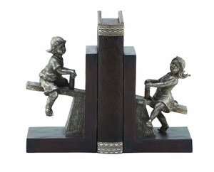 Boy and Girl Solid Cold Cast Resin Bookends Pair Statues Brand Woodland