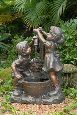Boy and Girl Weather proof Water Fountain with 5 metre Cord Brand Zest