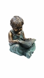 Boy Sitting Down Reading Book Statue by Alpine Corp