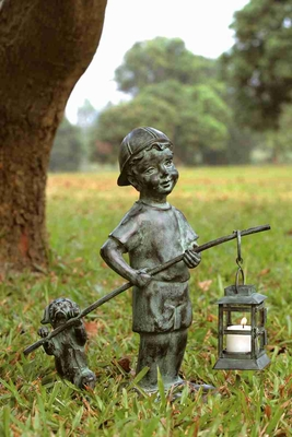 Boy With Dog Lantern Attracts The Visitors Day And Night Brand SPI-HOME