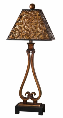 Bracciano Golden Bronze Table Lamp with Black Foot Brand Uttermost