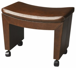 "Bradford Caster Leather Stool 29.5""W by Butler Specialty"