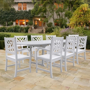 Bradley Oval Extension Table & Armchair Outdoor Wood Dining Set by Vifah