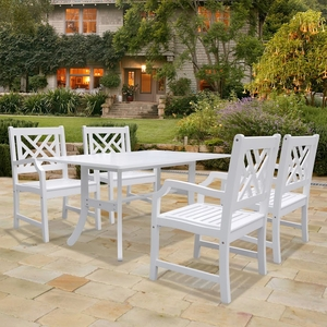 Bradley Rectangular and Curved Leg Table & Armchair Outdoor Wood Dining Set by Vifah