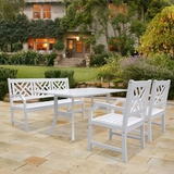 Bradley Rectangular and Curved Leg Table - Bench - Armchair Outdoor Wood Dining Set by Vifah