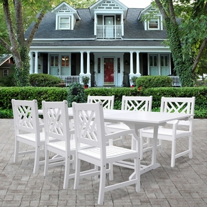 Bradley Rectangular Extension Table & Armchair Outdoor Wood Dining Set by Vifah