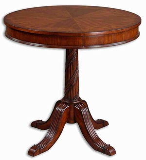 Brakefield Round Table with Cherry and Pecan Finish Brand Uttermost