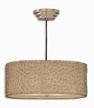 Brandon 3 Light Drum Pendant Lamp With Nickle Abstract Design Brand Uttermost