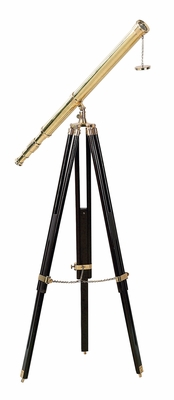 Brass and Polished Wooden Vintage Telescope Mounted on Tripod Brand UMA
