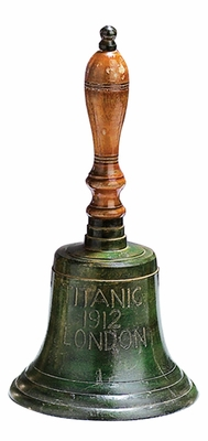 Brass Bell Decor in Green and Brown Finish with Modern Design Brand Woodland