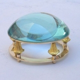 Brass Desk Magnifier with Sky Blue Glass by IOTC
