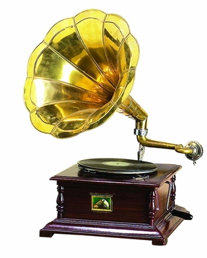 Brass Horn Gramophone Phonograph, Working Brass Wood Gramophone