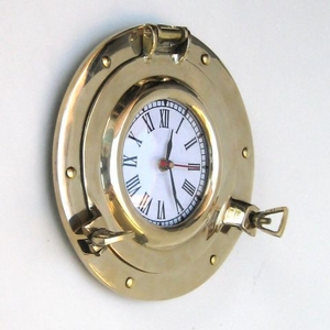 "Brass Porthole Clock Nautical Boat Clocks 9"" Diameter Brand IOTC"