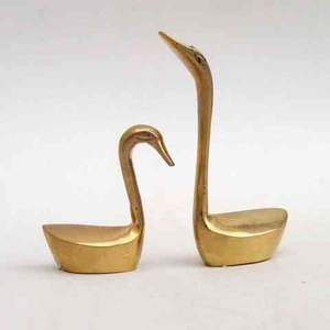 Brass Swan Pair Long Neck Unique Aqua Table Top Or Shelf Decor Brand IOTC