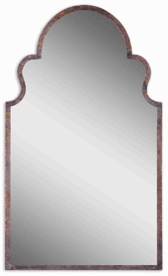 Brayden Arch Mirror with Hand Forged Metal In Brown And Gold Highlights Brand Uttermost