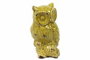 Brazilian Adorable Ceramic Owl Antique green