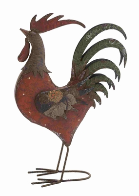Brazilian Style Authentic Metal Rooster Figurine Brand Benzara