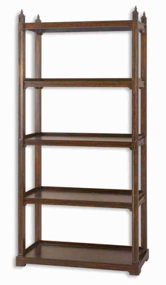 Brearly All Wood Etageres Bookshelf Stand With Bourbon Finish Brand Uttermost