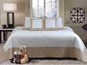 Brentwood Ivory Taupe Queen Bedspread Set With 2 Shams, Bedspread Brand Greenland Home fashions